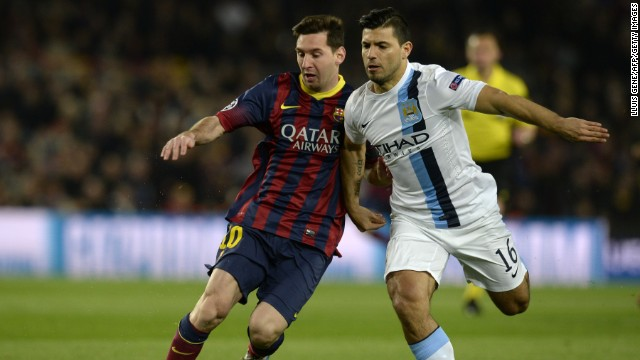 Lionel Messi of Barcelona went up against his fellow Argentine Sergio Aguero of Manchester City in the second leg of the last 16 Champions League clash between the two sides at the Camp Nou. Aguero had to be substituted at halftime after suffering a hamstring injury.