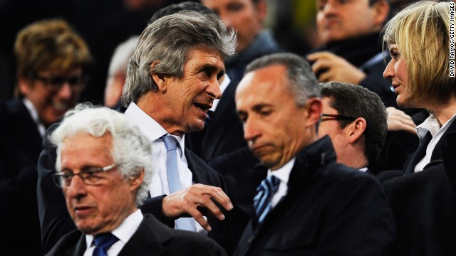 Manchester City manager Manuel Pellegrini was forced to sit from the stands after being handed a touchline ban by UEFA. The Chilean made disparaging remarks about Swedish referee Jonas Eriksson following the first leg defeat by Barcelona.
