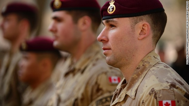 Canadian Master Corporal Jordan Taylor stands on parade during a ceremony at the ISAF headquarters in Kabul on March 12.