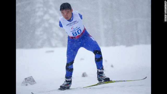 Haitao Du of China competes in the men's cross-country sprint on Wednesday, March 12.