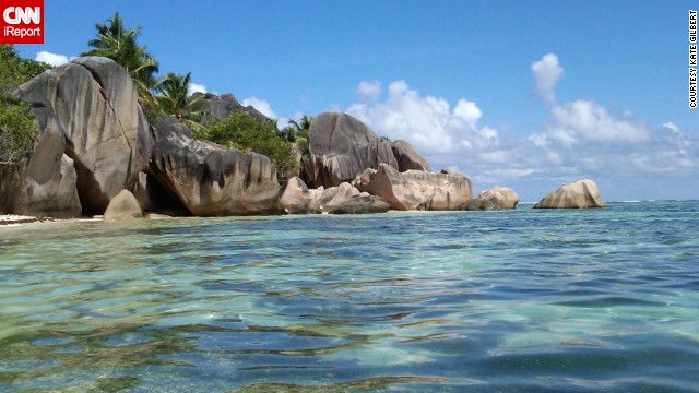 The calm topaz waters and clear blue skies at Anse Source D'Argent on the island of La Digue are a vision of serenity.