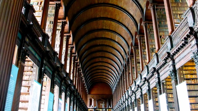 <strong>Dublin:</strong> Trinity College Library Dublin, the library of Trinity College and the University of Dublin, and the largest library in Ireland. Here is the Long Room, which houses some of the oldest books.