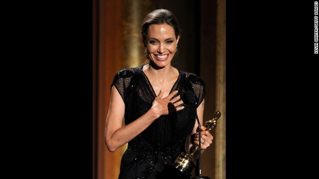 Jolie accepts the Jean Hersholt Humanitarian Award in November, during the Academy of Motion Picture Arts and Sciences' Governors Awards ceremony.