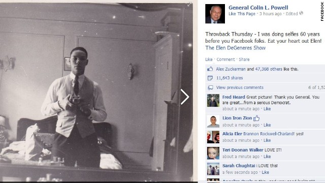 Colin Powell takes on Ellen with awesome selfie