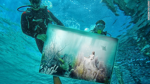 Viennese artist Andreas Franke's latest underwater exhibit went on display in the Maldives this week. Divers set up the artwork valued at $15,000 per piece.