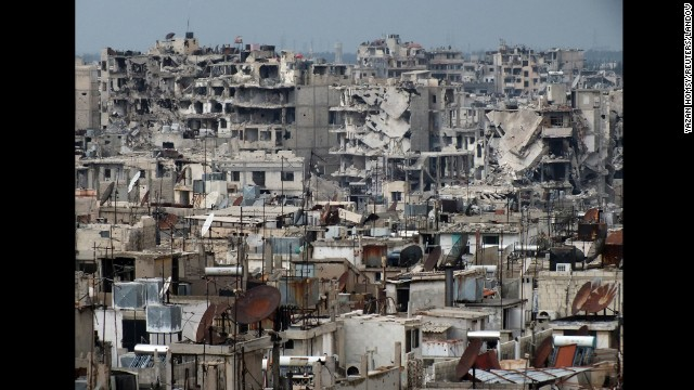 Buildings in the city of Homs lay in ruins on March 9.