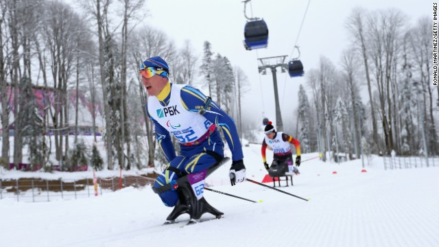 Mykhaylo Tkachenko of Ukraine competes in the 12.5-kilometer sitting biathlon on March 14.