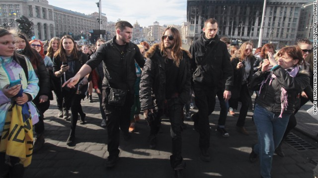"Recent Academy Award winner Jared Leto walks through Independence Square in Kiev, Ukraine, on March 13. During his Oscars acceptance speech in early March, the actor spoke to protesters in Ukraine and Venezuela saying, ""We're thinking of you tonight."""