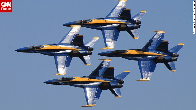 The U.S. Navy's iconic flying team, the Blue Angels, performed over the weekend for the first time in nearly a year after the team was grounded because of forced spending cuts. If you haven't had a chance to see them in person, watch them fly over the years in these photos from aerospace fans on CNN iReport.