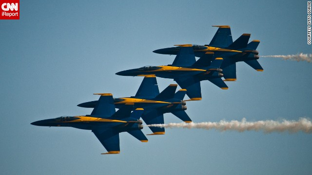 "The Blue Angels' six demonstration pilots fly F/A 18 Hornets. ""They can perform amazing aerobatic stunts,"" said Atkeison, who got to fly with the team in 2012."