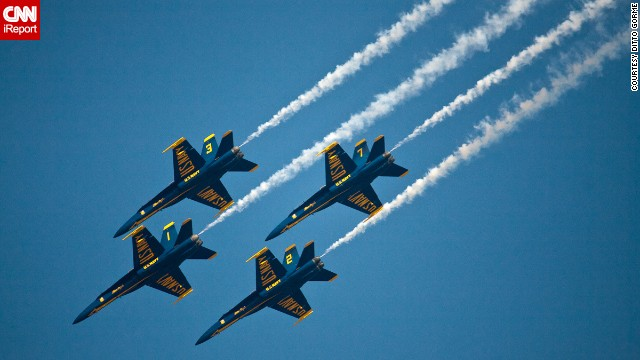 """""""Every year, we always go to the airshow here in Pensacola,"""" Gorme said. When he learned the shows would be canceled, he said, he decided to go watch one of the remaining practice sessions. """"It was packed with fans like it was a regular show."""""""