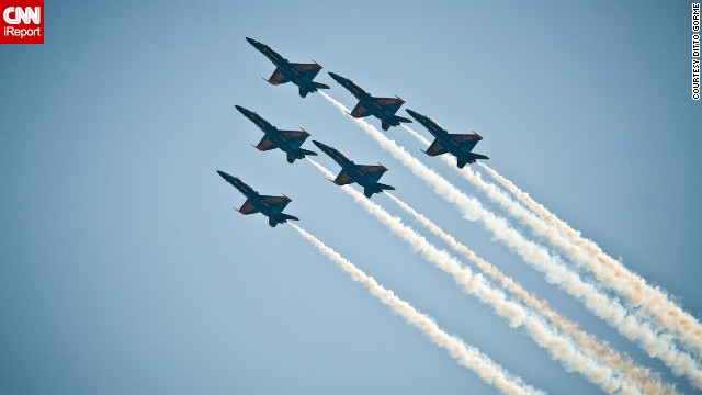 A total of 16 officers voluntarily serve with the Blue Angels, according to its website. Each team is composed of three tactical jet pilots, two support officers and one Marine Corps pilot.