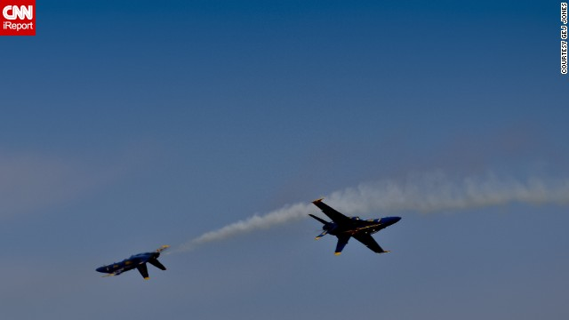 """Jones says the airshow has certainly captivated him. """"It's a terrific opportunity for the public, young and old alike, to get up close and personal with the Blue Angels,"""" he said."""