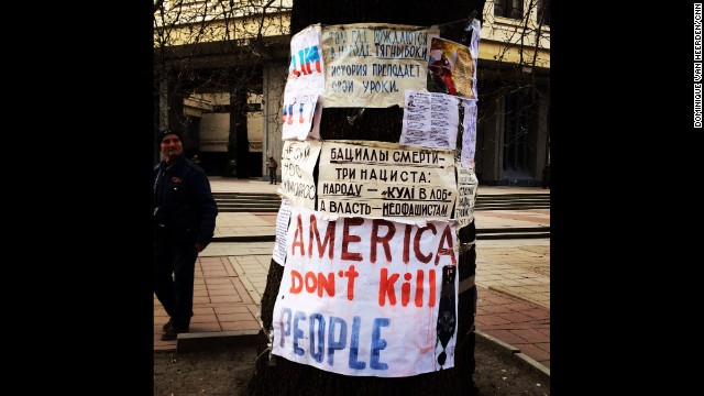 "SIMFEROPOL, UKRAINE: ""You really don't have to wander very far in Simferopol (March 14) to find posters like this one around parliament and Lenin Square."" - CNN's Dominique Van Heerden. Follow Dominique on Instagram at <a href='http://instagram.com/dominique_vh' target='_blank'>instagram.com/dominique_vh</a>"