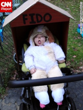 One year, Linzey converted Anabelle's wheelchair into a dog house and put her in a puppy costume for Halloween.