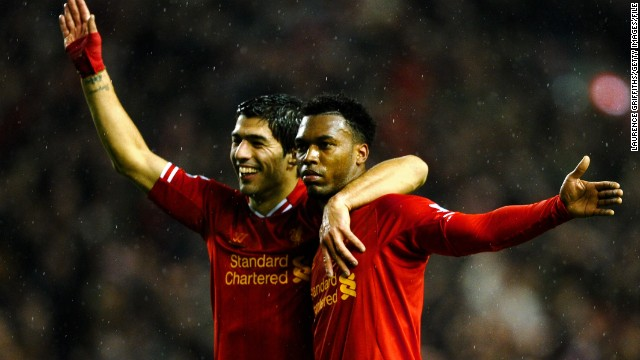 Liverpool is one of the most successful clubs in English football history, but it has failed to win a league title for 24 years. Hwover the goals of Uruguayan Luis Suarez (left) and England striker Daniel Sturridge (right) have propelled Liverpool up to second in the Premier League table ahead of Sunday's match against Manchester United.