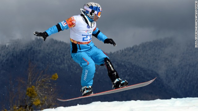 French snowboarder Patrice Barattero competes on March 14.