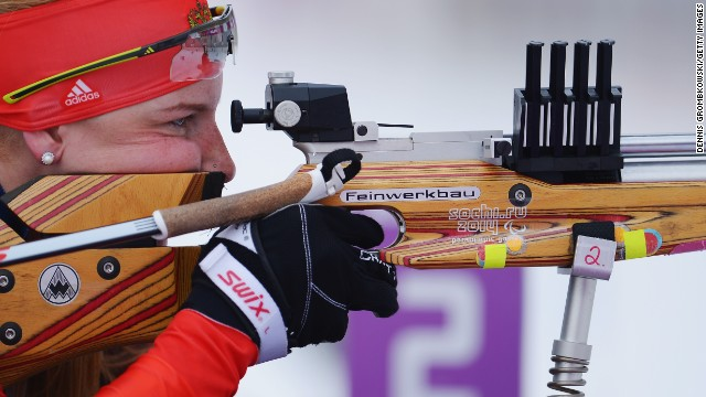 Alena Kaufman of Russia competes in the women's biathlon on March 14.