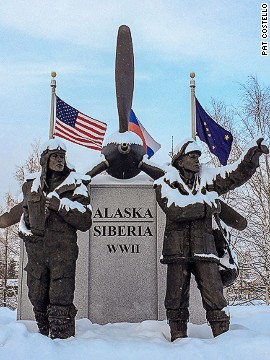 The Alaska Siberia World War II Memorial honors U.S. and Soviet pilots who transported nearly 8,000 warplanes from the continental United States to Russia between 1942 and 1945. Due to weather or mechanical problems, 177 planes crashed en route. The memorial is located in Griffin Park in downtown Fairbanks. Click <a href='https://www.facebook.com/juneauphotos' target='_blank'>here</a> to see more of photographer Pat Costello's Alaska pictures.