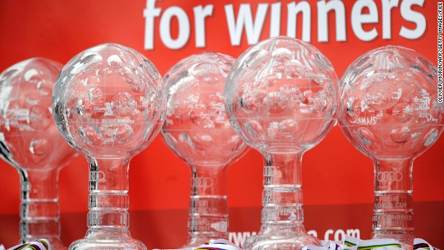 Crystal Globe trophies are displayed prior to the start of the prize giving ceremony of the Alpine Skiing World Cup finals in Lenzerheide, Switzerland.