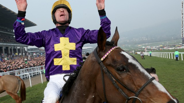 Davy Russell celebrates after riding Lord Windermere to victory in the Cheltenham Gold Cup Chase on March 14.