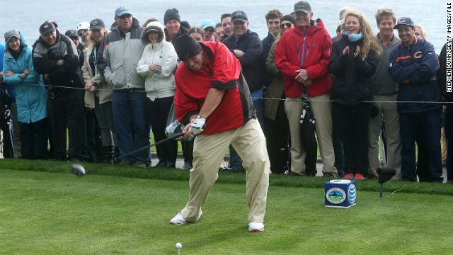 Though long past his best, the big-hitting 47-year-old is still a popular figure among golf fans -- here he tees off at the Pebble Beach National Pro-Am in February 2014.