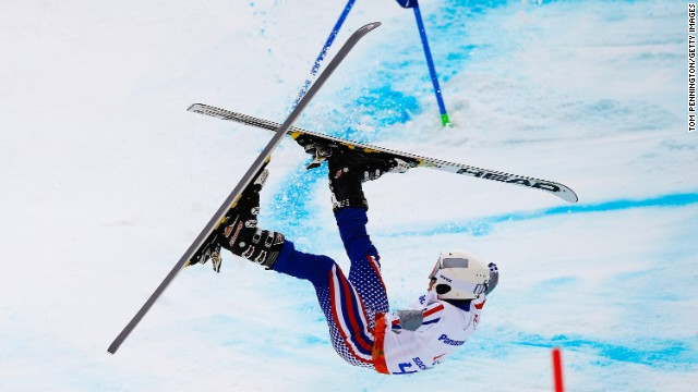 Aleksandr Akhmadulin of Russia crashes in the men's giant slalom standing during day eight of the Sochi 2014 Paralympic Winter Games.