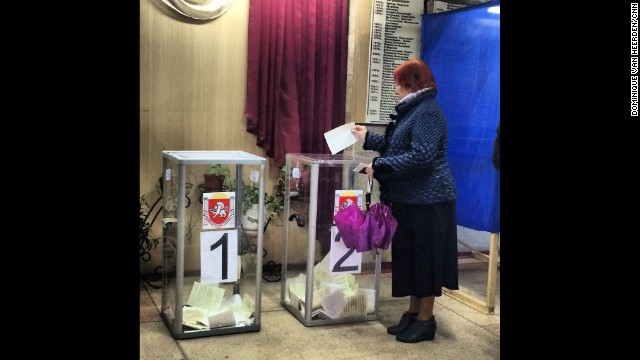 "SIMFEROPOL, UKRAINE: ""Voting has started in Crimea (March 16). Steady stream of voters at this polling station in the center of Simferopol."" - CNN's Dominique Van Heerden. Follow Dominique on Instagram at <a href='http://instagram.com/dominique_vh' target='_blank'>instagram.com/dominique_vh</a>."