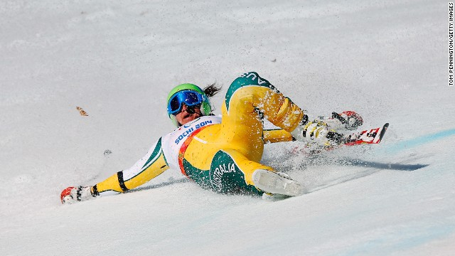 Melissa Perrine of Australia crashes in the women's giant slalom visually impaired event on March 16.