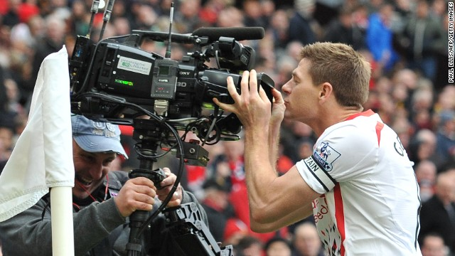 Gerrard netted his and Liverpool's second after the interval from the penalty spot after a foul on Joe Allen.