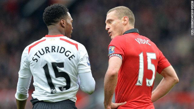 Manchester United captain Nemanja Vidic was sent off after picking up a second yellow card for a foul on Daniel Sturridge. Gerrard took the penalty kick but could only hit the post.