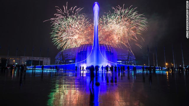 Fireworks explode after the Closing Ceremony of the 2014 Paralympic Winter Games at Fisht Olympic Stadium in Sochi, Russia, on Sunday, March 16.