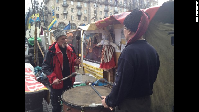 "KIEV, UKRAINE: ""The mood was grim in Kyiv's Maydan (March 16), as a mustachioed Ukrainian Cossack beat a kettle drum during the separatist referendum in Crimea."" - CNN's Ivan Watson. WATCH THE INSTAGRAM VIDEO Follow Ivan on Instagram at instagram.com/ivancnn."