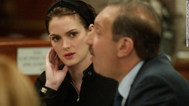 In December 2002, actress and fashion darling<a href='http://archives.cnn.com/2002/LAW/12/06/ryder.sentencing/'> Winona Ryder was sentenced</a> to three years probation and 480 hours of community service for shoplifting from Saks Fifth Avenue. She was also ordered to pay more than $10,000 in fines and get drug and psychological counseling.