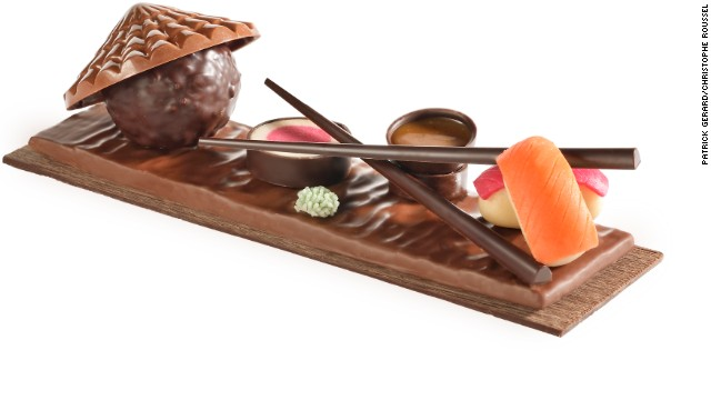 Taking inspiration from the Land of the Rising Sun, <a href='http://www.christophe-roussel.fr/' target='_blank'>Christophe Roussel</a> has created a sushi plate made entirely of chocolate, chocolate paste, marzipan and nougat. Chop sticks allow choc-o-holics to dip their colorful maki and sushi in salted butter caramel.