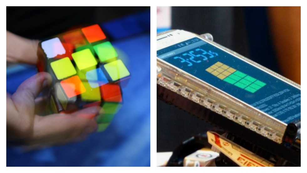 "<strong>ROUND ONE: RUBIK'S CUBE</strong><!-- --> </br><!-- --> </br>A robot has <a href='http://edition.cnn.com/2014/03/17/tech/innovation/lego-robot-rubiks-cube/'>smashed the world record for solving a Rubik's Cube</a> in the fastest time of 3.25 seconds. The menacingly named ""Cubestormer III"" annihilated Dutchman Mats Valk's human record of 5.55 seconds -- not bad considering it's made from Lego and has a mobile phone for a brain.<!-- --> </br><!-- --> </br>Ok, so the brainy bot comes out on top this time. But are they really that much smarter than us? Roll up your sleeves (and adjust your keyboards) for some of the nerdiest competitions of all time...<!-- --> </br><!-- --> </br>This one goes to the ""Cubestormer.""<!-- --> </br><!-- --> </br><strong><i>SCORE: Machine 1, Man 0</i></strong><!-- --> </br><!-- --> </br><!-- --> </br><i>By Sheena McKenzie and Matt Ponsford</i> <!-- --> </br><!-- --> </br>[Images: Patrik Stollarz/AFP/Getty Images; Courtesy ARM]"