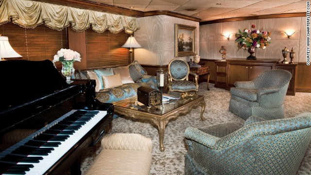 For $125,000 a week, the lavish vessel -- featuring a hot tub, 10 bedrooms and a bar -- could be yours.