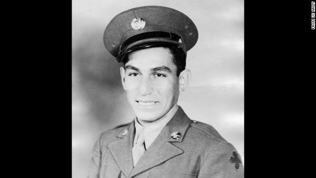 Staff Sgt. Manuel V. Mendoza was recognized for his action on October 4, 1944, in Mount Battaglia, Italy, where he is credited with single-handedly breaking up a German counterattack. Mendoza, already wounded in the arm and the leg in the attack, grabbed a submachine gun and opened fire on German troops advancing up a hill. When the German soldiers retreated, he grabbed a number of weapons dropped in the retreat. He also captured a wounded enemy soldier.