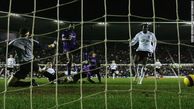 As a teenager at City, Sturridge became the first player to score in the Premier League, FA Cup and Youth FA Cup in the same season -- here he finds the net against Derby on January 30, 2008 for his first top-flight goal.