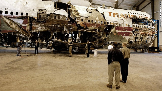 A reconstruction of a section of fuselage from TWA Flight 800 sits in the National Transportation Safety Board Academy as a teaching tool for air crash investigators. In the aftermath of the 1996 incident, in which the Boeing 747 crashed into the ocean near New York, federal officials issued a new safety requirement mandating certain planes to install a device that would prevent fuel tanks from exploding.