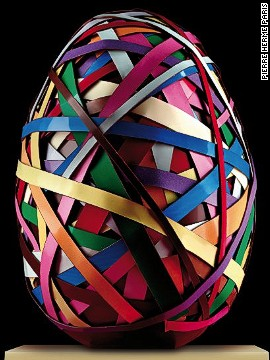 This may look like an orb made of rubber bands, but it is actually an edible Easter egg from French pastry chef <a href='http://www.pierreherme.com/' target='_blank'>Pierre Hermé</a>. It pays homage to the metal sculptures of Swiss artist <a href='http://www.vonbartha.com/artists/beat-zoderer/' target='_blank'>Beat Zoderer</a> by layering multicolored chocolate strips around an 875-gram Brazilian dark chocolate egg. Hermé has made 15 of the eggs, which retail for $290.