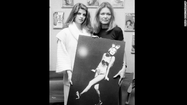 "Steinem, right, poses with actress Kirstie Alley at the Ms. magazine offices in 1984. Alley played Steinem in ""A Bunny's Tale,"" a 1985 TV movie based on Steinem's experience going undercover to work as a Playboy bunny in 1963. After her undercover work, Steinem wrote an expose about the poor pay and working conditions."