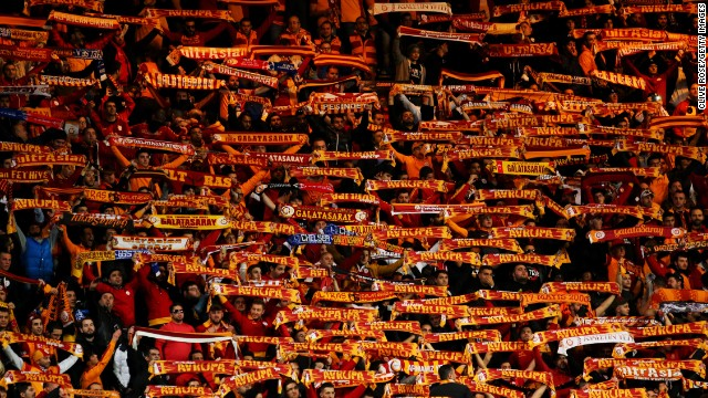 Galatasaray fans made themselves heard before kick off at Stamford Bridge. Around 3,000 supporters backed the Turkish side in west London Wednesday.