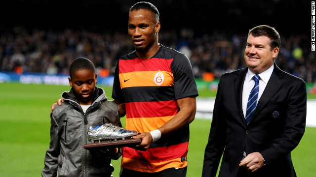 Drogba, who scored the winning penalty kick for Chelsea in the 2011 Champions League final, was honored by the club for which he scored 157 goals and won three Premier League titles and four FA Cups.