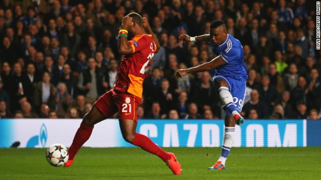 Samuel Eto'o gave Chelsea a fourth minute lead with a fine finish. The goal was the Cameroon international's 30th in the Champions League.