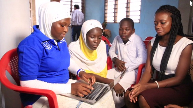 """These are very intelligent girls but they haven't been given the platform to shine because nobody believes in them,"" says Agyare. ""So when we started teaching them HTML we saw the girls speaking up -- we were amazed; they were actually able to design websites and stand up and speak about their code."""