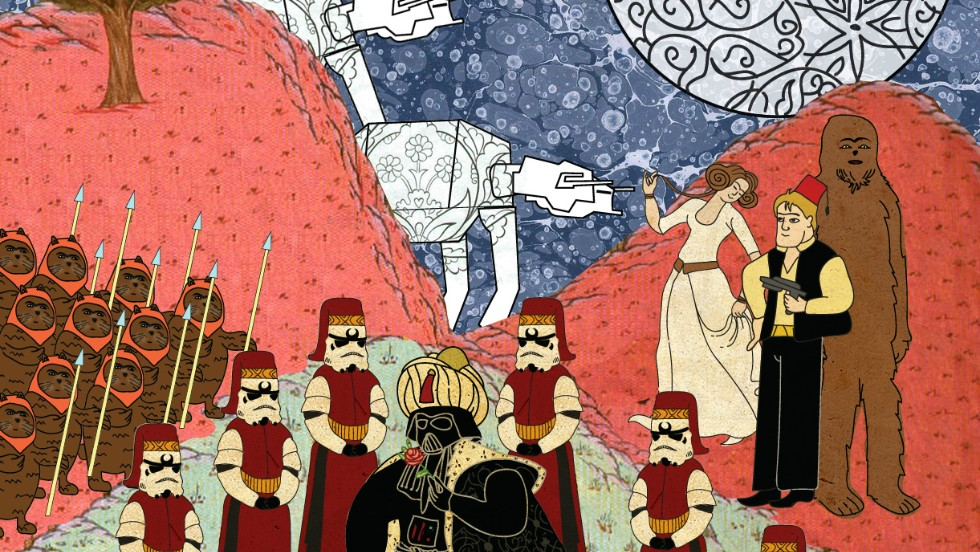 Turkish artist Murat Palta has recreated classic scenes from cult classic movies in the style of traditional Ottoman art. In his rendition of Star Wars, Darth Vader is a sultan.