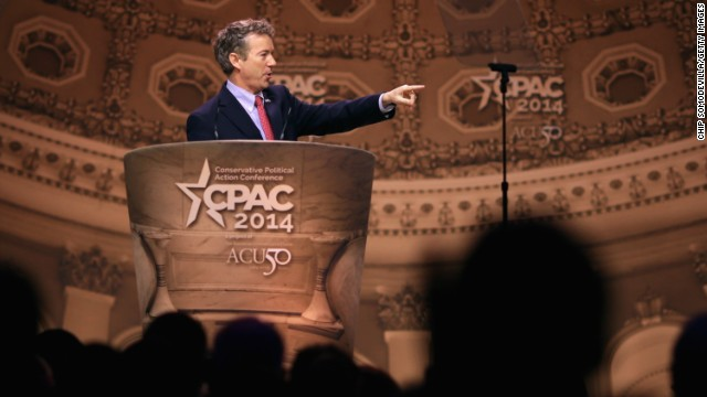 Paul addresses the Conservative Political Action Conference on March 7, 2014, where he easily won the presidential straw poll, giving the possible White House candidate an early boost ahead of the 2016 election.