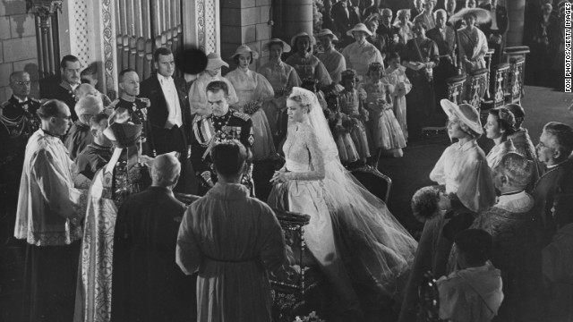 Prince Rainier III marries actress Grace Kelly in a cathedral in Monaco on April 19, 1956.