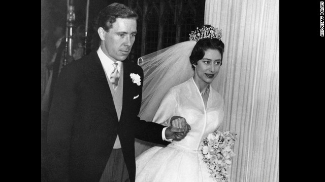 The newly-wed Princess Margaret, the younger sister of Britain's Queen Elizabeth II, leaves hand in hand with her husband the photographer Antony Armstrong-Jones London's Westminster Abbey on their wedding day May 6, 1960. Armstrong-Jones was later made Earl of Snowdon. When the marriage was officially ended two years later, Margaret became the first royal to divorce since Henry VIII in the 16th century.